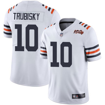 Men's Chicago Bears #10 Mitchell Trubisky Nike White 2019 100th Season Alternate Classic Limited Jersey