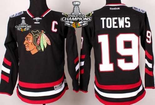 chicago blackhawks 19 jonathan toews 2014 stadium series black kids jersey w 2015 stanley