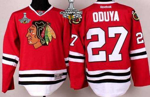 Chicago Blackhawks #27 Johnny Oduya Red Kids Jersey W/2015 Stanley Cup Champion PatchChampion Patch