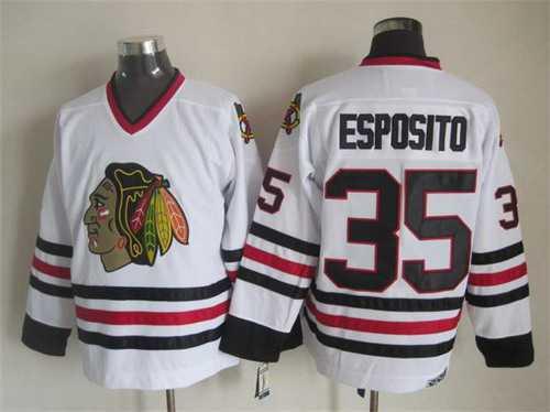 Chicago Blackhawks  35 Tony Esposito White CCM Vintage Throwback Jersey a1c5ea85f