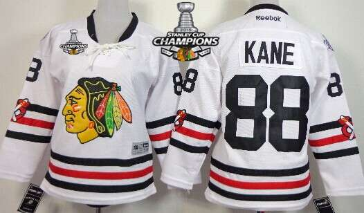 6bf3749f045 Chicago Blackhawks #88 Patrick Kane 2015 Winter Classic White Kids Jersey  W/2015 Stanley Cup Champion Patch