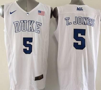 f610149367b Duke Blue Devils  5 Tyus Jones 2015 White Jersey on sale