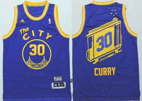 87c055bafb1 Golden State Warriors #30 Stephen Curry The City Blue Hardwood Classics  Soul Swingman Throwback Jersey