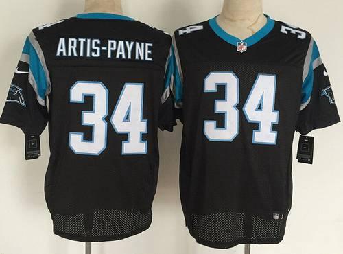 Men's Carolina Panthers #34 Cameron Artis-Payne Nike Black Elite ...