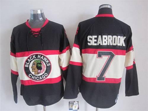 Men s Chicago Blackhawks  7 Brent Seabrook Black Third CCM Vintage  Throwback Jersey ba2bc354e