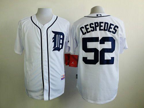 wholesale dealer 85f1f 260de Men's Detroit Tigers #52 Yoenis Cespedes White Jersey on ...