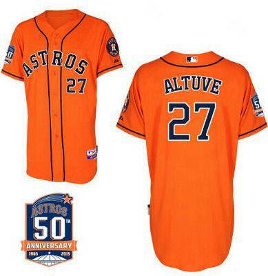cf346e894f9 Men s Houston Astros  27 Jose Altuve Orange Jersey With 50th Anniversary  Patch