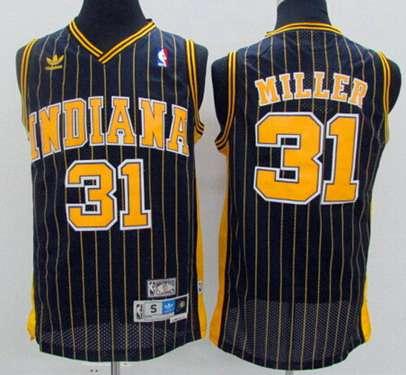 60454bf21 Men s Indiana Pacers  31 Reggie Miller Navy Blue Pinstirpe Hardwood  Classics Soul Swingman Throwback Jersey