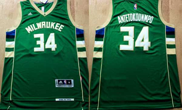 7d4253a3414 Men's Milwaukee Bucks #34 Giannis Antetokounmpo Revolution 30 Swingman 2015  New Green Jersey