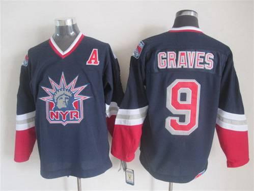 newest 46219 bae09 Men's New York Rangers #9 Adam Graves Navy Blue CCM Vintage ...