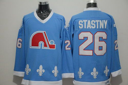 Men's Quebec Nordiques #26 Peter Stastny Light Blue CCM Vintage Throwback Jersey