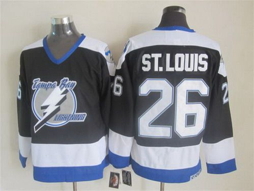a3da7656a08 Men's Tampa Bay Lightning #26 Martin St. Louis 2003-04 Black CCM Vintage  Throwback Jersey