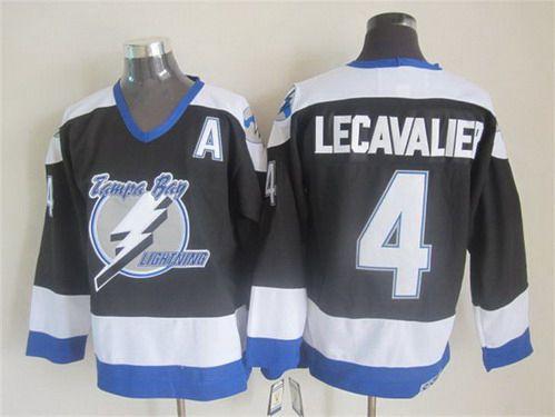Men's Tampa Bay Lightning #4 Vincent Lecavalier 2003-04 Black CCM Vintage