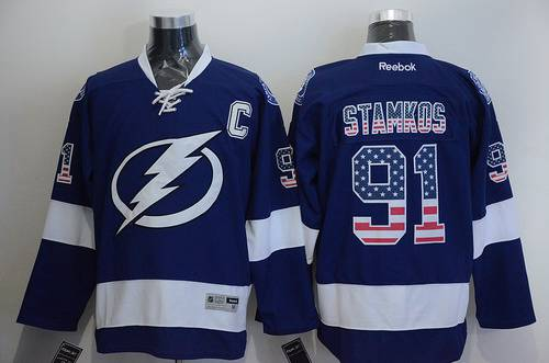c382d7a2c59 Men's Tampa Bay Lightning #91 Steven Stamkos USA Flag Fashion Blue Jersey