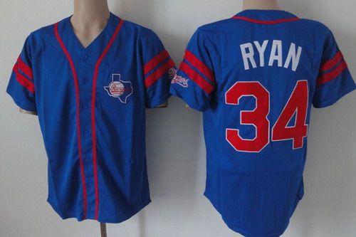 separation shoes f7b4e e17c8 Men's Texas Rangers #34 Nolan Ryan Blue Throwback Jersey on ...