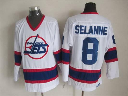 best sneakers 934c3 6bdae Men's Winnipeg Jets #8 Teemu Selanne 1990-91 White CCM ...