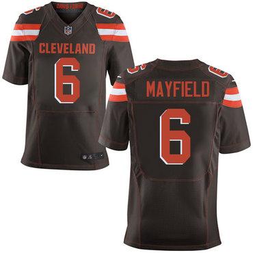 3e31914e0 Nike Cleveland Browns  6 Baker Mayfield Brown 2018 NFL Draft Pick Elite  Jersey