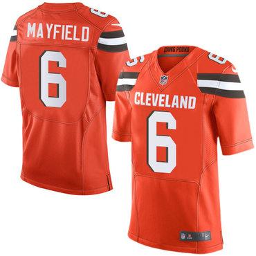 Nike Cleveland Browns #6 Baker Mayfield Orange 2018 NFL Draft Pick Elite Jersey