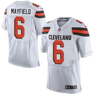 d93629343 Nike Cleveland Browns  6 Baker Mayfield White 2018 NFL Draft Pick Elite  Jersey