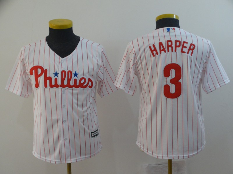 Youth Philadelphia Phillies #3 Bryce Harper Retried Majestic White Home Cool Base Player Jersey