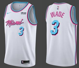 best service 46902 07a17 Nike Heat #3 Dwyane Wade White NBA Swingman City Edition ...