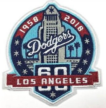 MLB Los Angeles Dodgers 60th anniversary patch