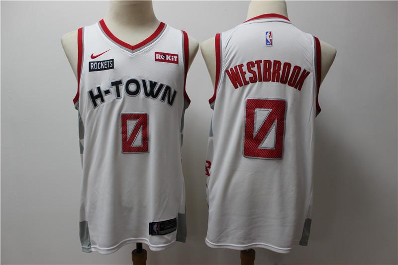 Men's Houston Rockets #0 Russell Westbrook White 2020 Nike City Edition Swingman Jersey With The Sponsor Logo