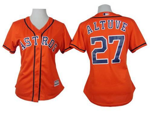 pretty nice b3550 34eb5 Women's Houston Astros #27 Jose Altuve Orange Jersey on sale ...