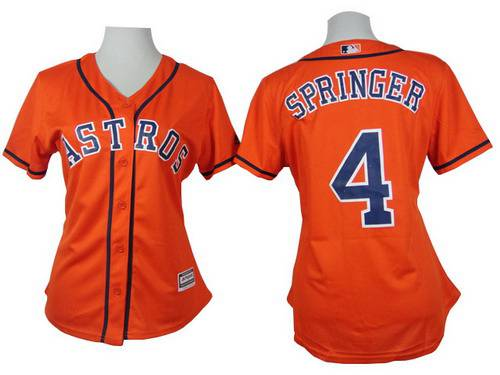 100% authentic bb1be 465d0 Women's Houston Astros #4 George Springer Orange Jersey on ...
