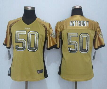 7e58d53678c Women's New Orleans Saints #50 Stephone Anthony Nike Drift Fashion Gold  Jersey