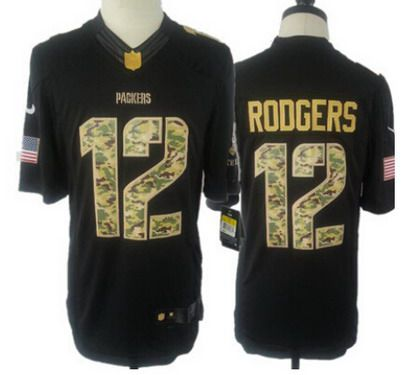 abaf3119 Youth Green Bay Packers #12 Aaron Rodgers Nike Salute To Service Black  Limited Jersey