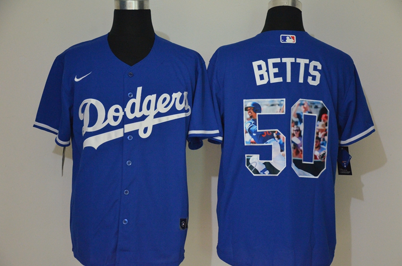 Men's Los Angeles Dodgers #50 Mookie Betts Blue Unforgettable Moment Stitched Fashion MLB Cool Base Nike Jersey