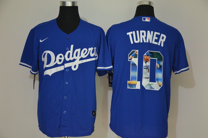 Men's Los Angeles Dodgers #10 Justin Turner Blue Unforgettable Moment Stitched Fashion MLB Cool Base Nike Jersey