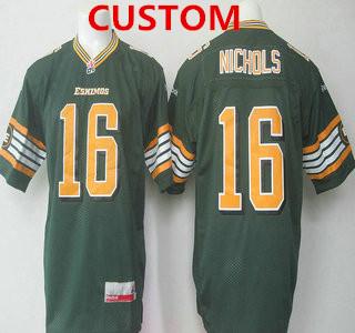 CFL Edmonton Eskimos Custom Green Jersey