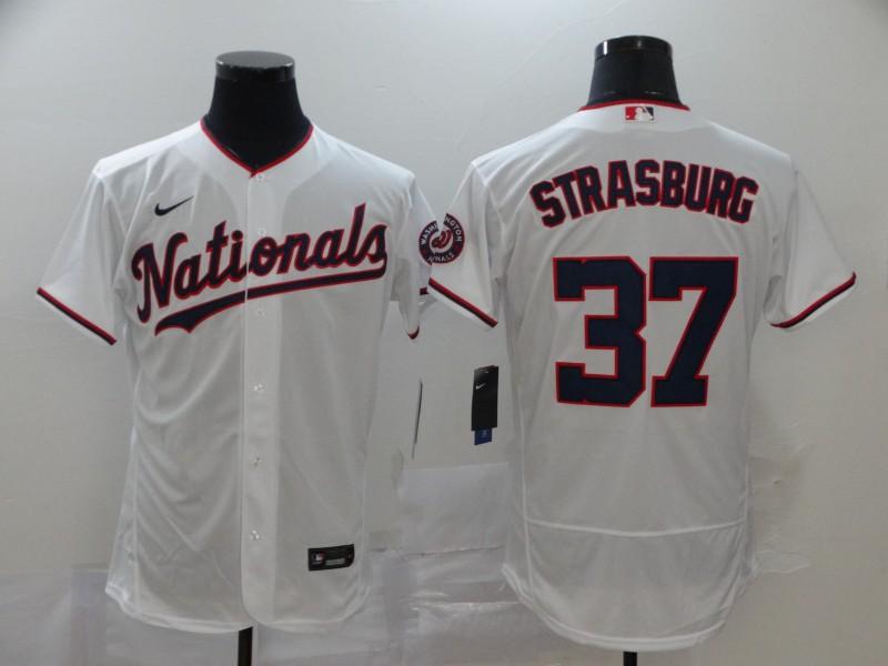 Men's Washington Nationals #37 Stephen Strasburg White Stitched MLB Flex Base Nike Jersey